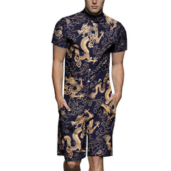Mens Floral Dragon Pattern Printing Ethnic Style Rompers Set Overalls Jumpsuit - Slabiti