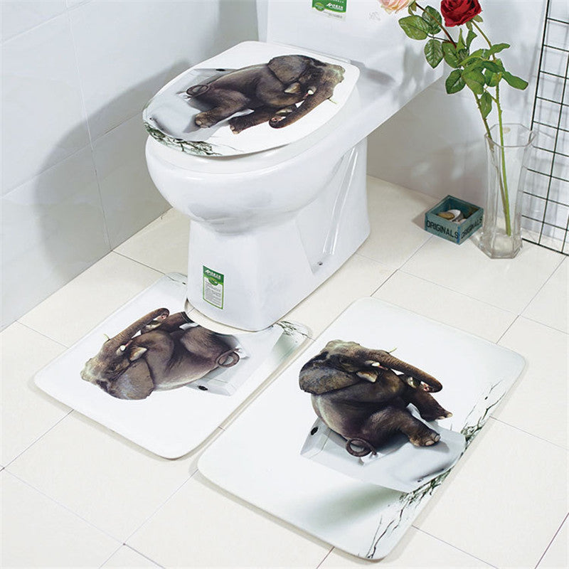 3pcs Bathroom Rug Mats Set 3D Elephant Flannel Soft Anti-slip Shower Toilet Carpet - Slabiti