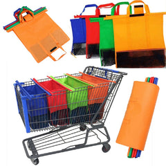 4PCS/Set Supermarket Shopping Cart Bags Foldable Reusable Grocery Shopping Bags Eco Non-woven Bag Portable Organizers Shopping - Slabiti