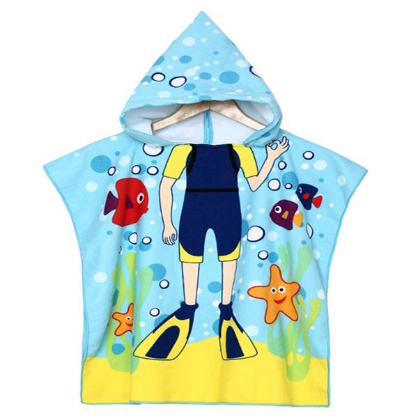 Baby Boys Polyester Fiber Bathroom Robes Towels Shower Cartoon Hooded Soft Washcloth Blankets Beach Children - Slabiti