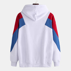 Mens Patchwork Color Printed Long Sleeve Hooded Sweatshirt - Slabiti