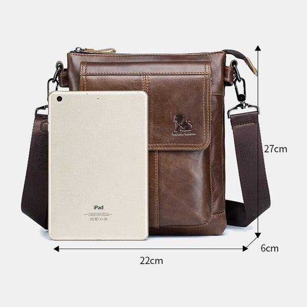 Men Vintage Genuine Leather Handbag Shoulder Bag Crossbody Bag For Business - Slabiti