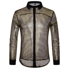 Mens Scales Glitter Sequins Nightclub Dance Costumes Shirts - Slabiti