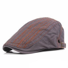 Men Women Cotton Beret Cap Solid Color Embroidery Casual Forward Peaked Hats - Slabiti