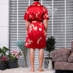 Soft Silk Printing Bathrobe Pajamas Set Thin Breathable Sleepwear Suit For Men - Slabiti