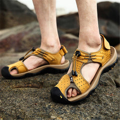 Men Breathable Comfy Wear Resistance Outsole Outdoor Sandals Hook Loop Shoes - Slabiti