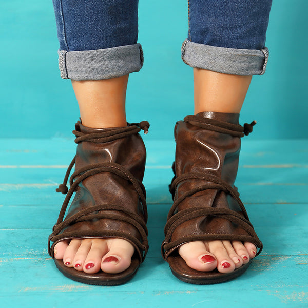 Large Size Vintage Open Toe Casual Zipper Flat Sandals - Slabiti