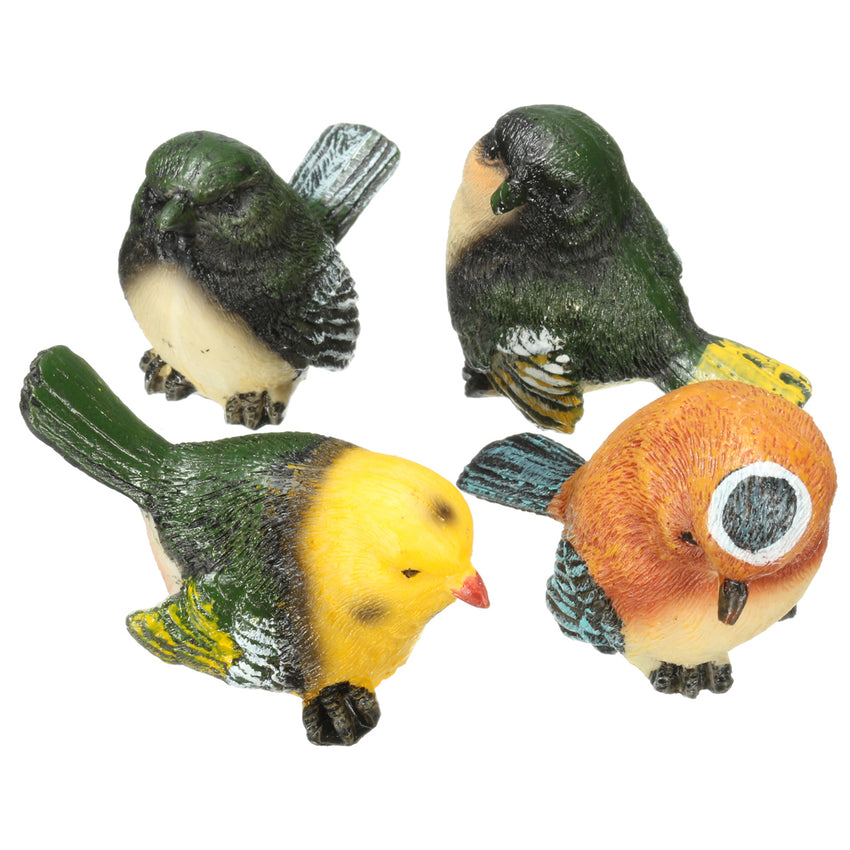 4 Pcs/Set Resin Birds Statue Figurine Home Garden DIY Bonsai Desk Decor Ornament Decorations - Slabiti