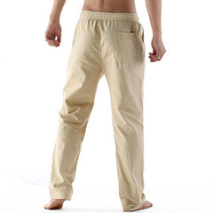 Mens Thin Linen Blend Breathable Solid Color Casual Straight Pants - Slabiti