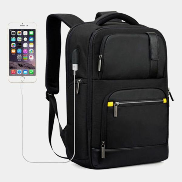 Men Large Capacity Multi-pocket Business Backpack With USB Charging Port - Slabiti