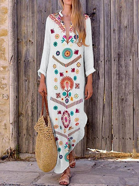 Women Bohemian V-neck Floral Print Long Sleeve Maxi Dress