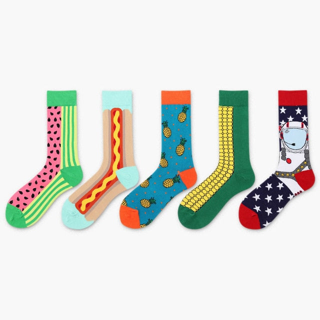 5 Pair/Lot Happy Socks Funny Art Womens Men Colour crew cotton short with print casual harajuku fuzzy socks fashion japanese - Slabiti