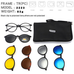 5 lenes Magnet Sunglasses Clip Mirrored Clip on Sunglasses with Box Men Polarized Clip Custom Prescription Myopia TR90 - Slabiti