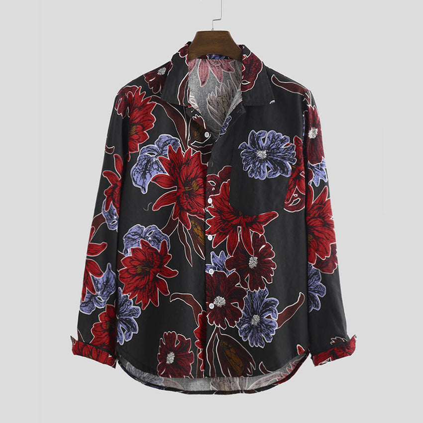 Men Cotton Oriental Pattern Print Long Sleeve Relaxed Shirts - Slabiti