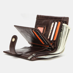 Anti-theft RFID Blocking Genuine Leather Wallet Card Holder Coin Bag For Men - Slabiti