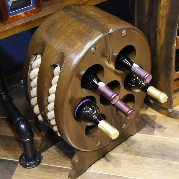 50cm Wooden Oval Shape Wine Stand / Holder / Rack  with Twine and Base Bar Accessories Home Bars 7 Position Creative 3 Layers