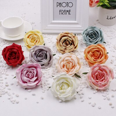 50pcs/lot artificial flowers silk rose flower head diy paper flowers heads background wall wedding home decoration accessories