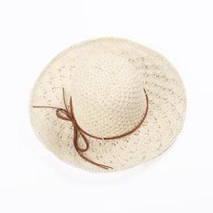 Womens Woven Straw Wide Brim Flat Bill Cap Vacation Sun Protection Beach Floppy Hat - Slabiti