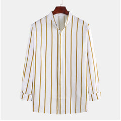 Mens Concise Pinstripe Fashion Casual Long Sleeve Stand Collar Shirts - Slabiti