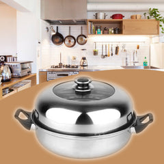 2 Tier Stainless Steel Steamer Induction Compatible Cookware 28cm Steam Pot - Slabiti