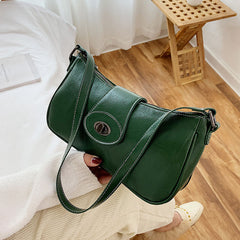 Women Fashion Lock Solid Casual Shoulder Bag - Slabiti