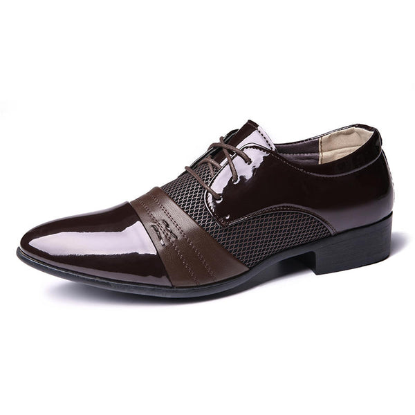 Men Soft Formal Business Mesh Microfiber Stitching Oxfords - Slabiti
