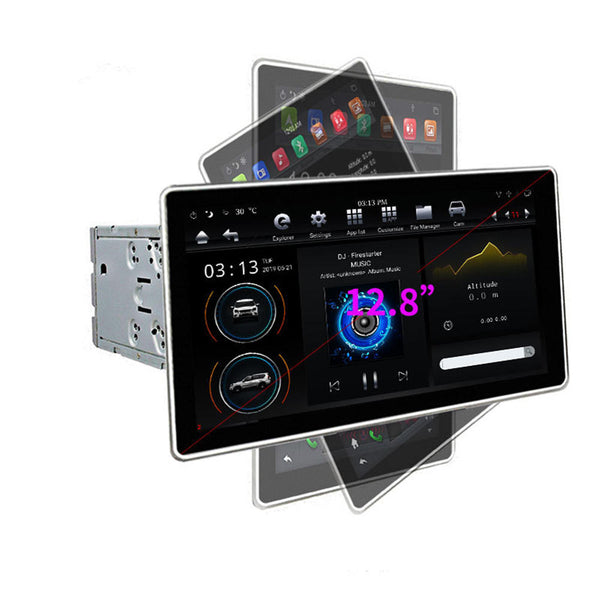 PX6 12.8 Inch for Android 8.1 Car Stereo 180 Degree Rotable IPS Touch Screen 4G+32G GPS WIFI 3G 4G FM AM Radio Support Vehicle Balance Detection - Slabiti