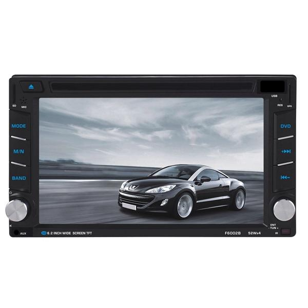 F6002B 6.2 inch 2 DIN Car DVD Stereo MP3 Player bluetooth Touch TFT Screen AUX IN SD MMC Card Reader - Slabiti