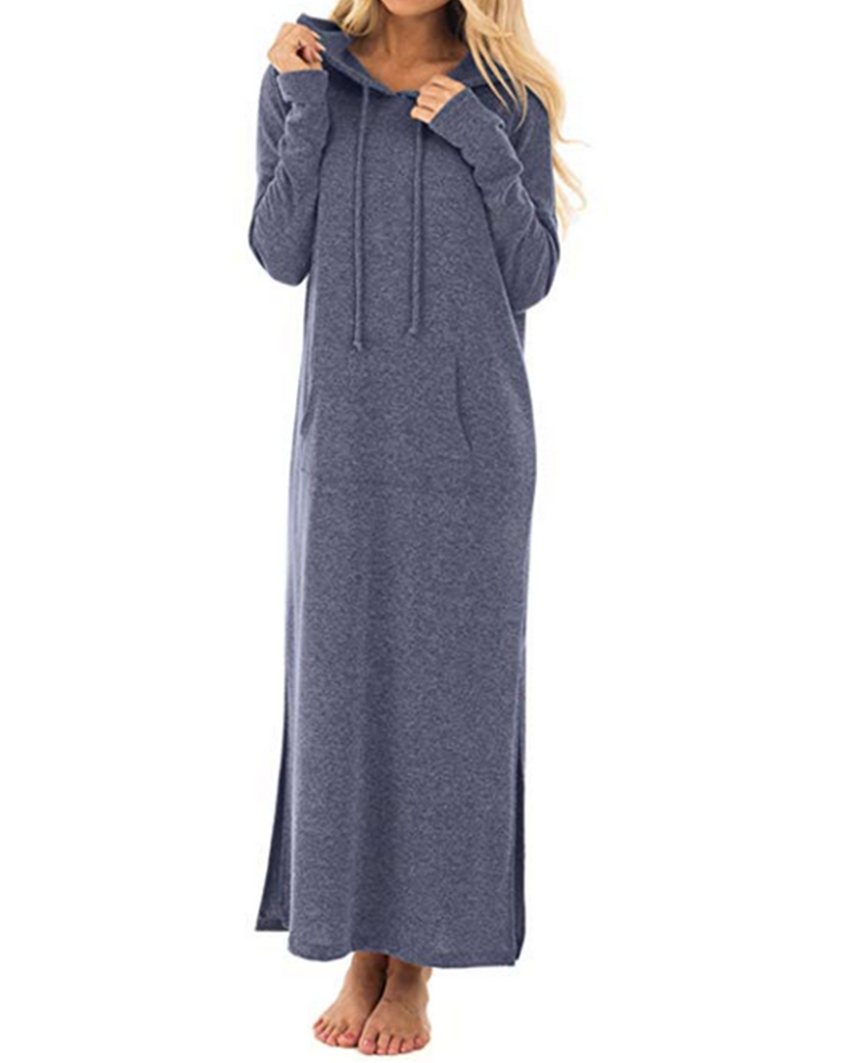 Long Sleeve Solid Hoodies Pollover Casual Dress