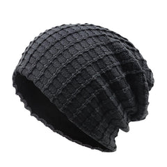 Mens Cotton Warm Thicken Solid Beanie Hats Outdoor Casual Windproof Bonnet Hat - Slabiti