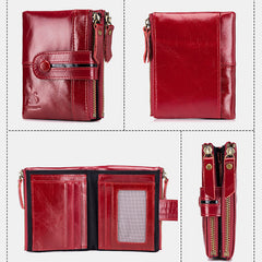 Genuine Leather Vintage Zipper Wallet Card Holder Coin Bag For Men - Slabiti