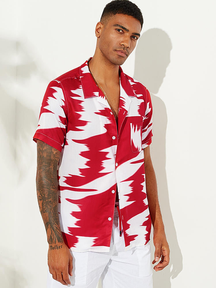 Mens Abstract Printed Contrast Color Chest Pocket Short Sleeve Loose Fashion Shirts - Slabiti