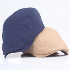 Men Cotton Solid Color Washed Beret Hat Buckle Adjustable Paper Boy Cabbie Golf Gentleman Cap - Slabiti