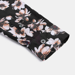 Men Floral Printed Long Sleeve Hawaiian Shirts - Slabiti