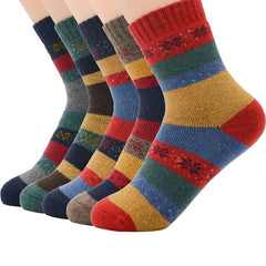5Pairs/lot New Witner Thick Warm Wool Women Socks Vintage Christmas Socks Colorful Socks Gift 6-11 Size - Slabiti