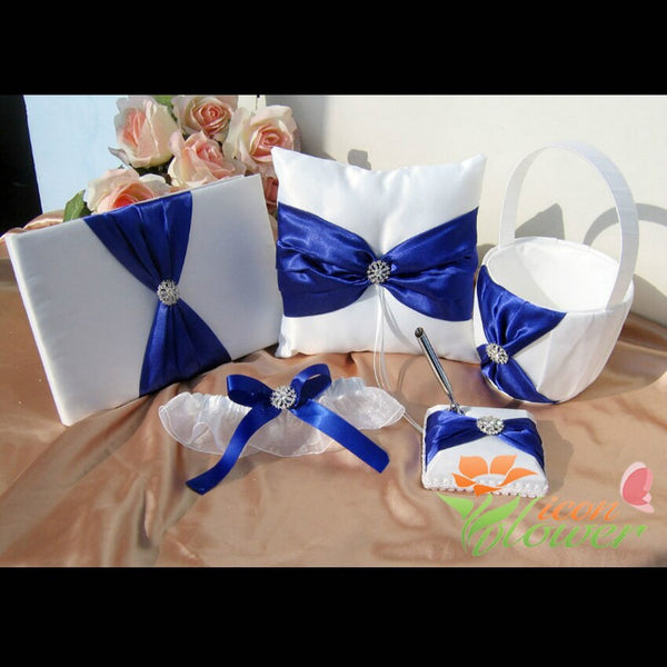 5Pcs/Set blue Satin Crystal Wedding Ring Pillow Guest Book +Pen Set Ring Pillow Flower Girls Basket Wedding Bridal Set
