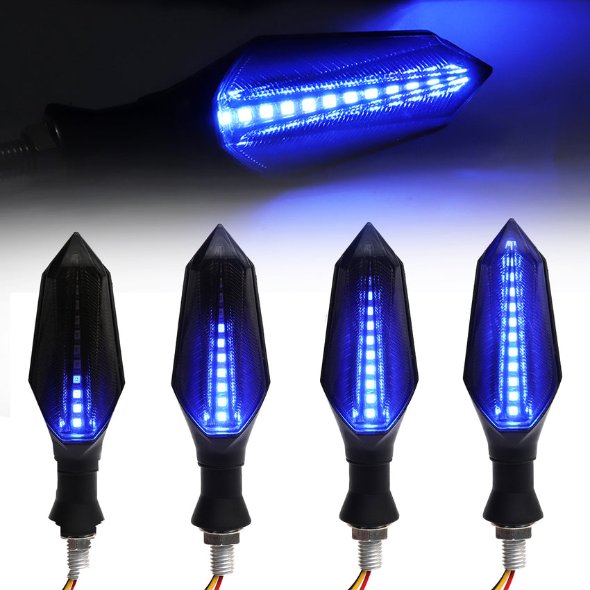 2pcs Smoked Motorcycle Blue LED Turn Signal Lamp Sequential Flowing Indicator Lights - Slabiti