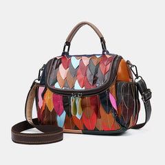 Women Genuine Leather Patchwork Vintage Handbag Crossbody Bag - Slabiti