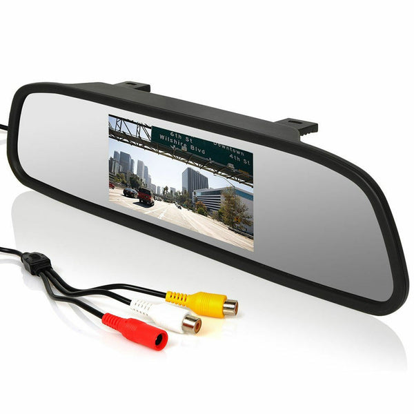 Car Rear View 5 Inch LCD Monitor Mirror Wireless Backup Camera Parking Reverse Kit - Slabiti