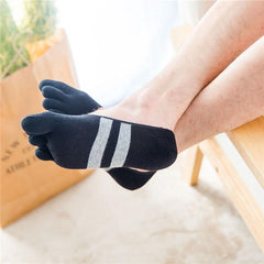 Men Cotton Mesh Breathable Toes Socks Invisible Non-slip Deodorization Ankle Socks - Slabiti