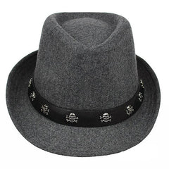 Mens Hat British Retro Skull and Crossbones Woolen Small Jazz Cap - Slabiti