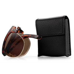 Men Women Folding Presbyopic Glasses With Glasses Case Vintage Metal Frame Reading Glasses - Slabiti