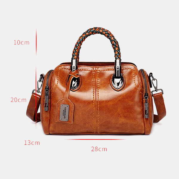 Women Vintage Handbag Oil Wax Leather Crosssbody Bag - Slabiti