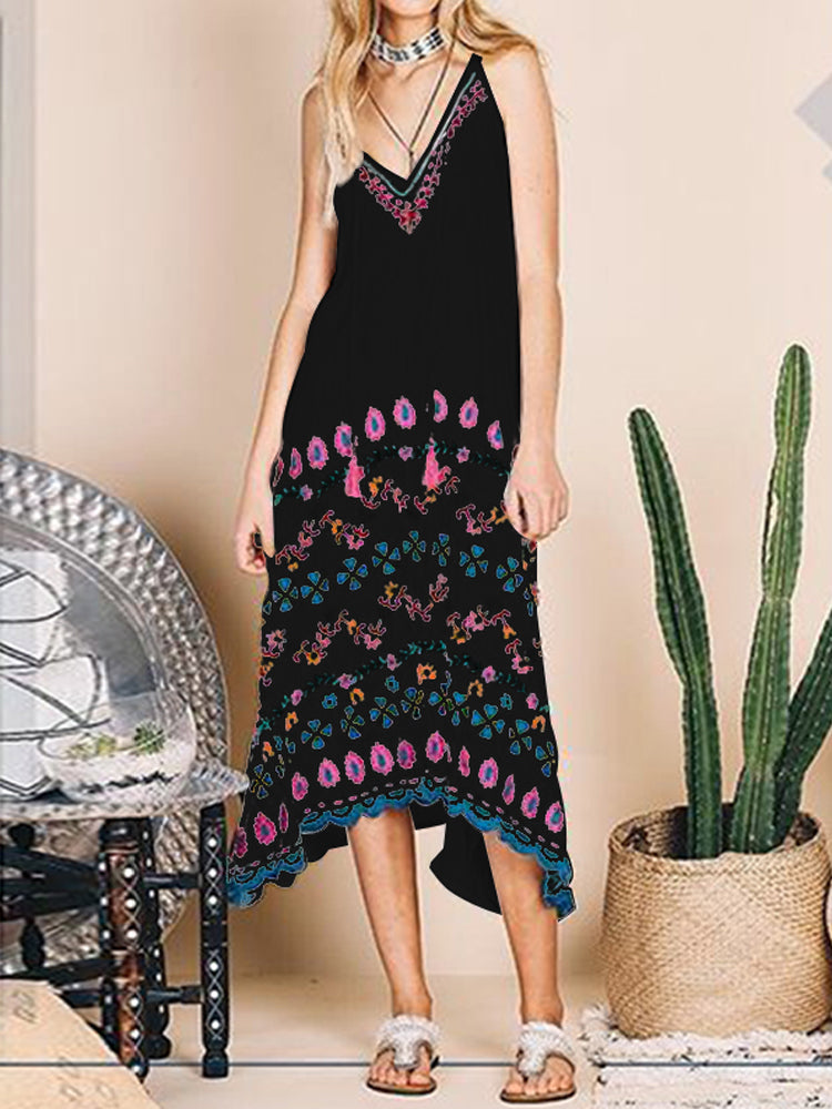 S-5XL Women Sleeveless V Neck Floral Holiday Beach Dress