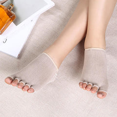 Women Exposed Five Toes Yoga Socks Non Slip Invisible Half Palm Sock Cotton - Slabiti