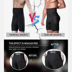 Men Butt Lifting Shapewear High Waist Tummy Control Slimming Boxer Short Detachable Padded Underwear - Slabiti