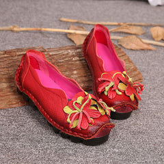 SOCOFY Genuine Leather Handmade Flower Loafers Soft Flat Casual Shoes - Slabiti