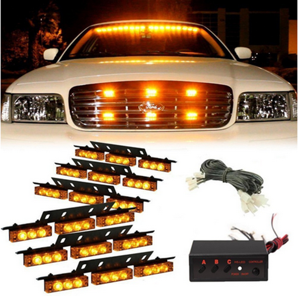 54 LED Emergency Strobe Lights Front Grill Flash Lamps with 3 Flashing Mode Yellow for 12V Vehicles - Slabiti