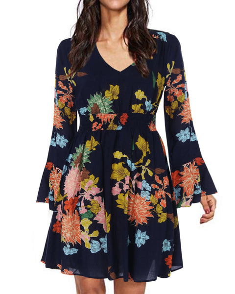 Bohemian Floral Print Long Sleeve Split Flowy Mini Dress