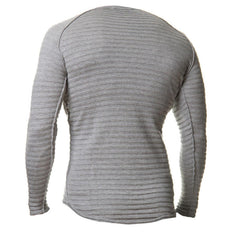 INCERUN Mens O Neck Pullover Solid Color Long Sleeve Slim Fit Top T-shirts - Slabiti